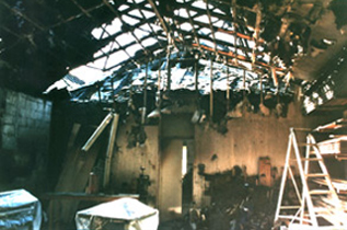 Fire damage at the old workshop, March 2000